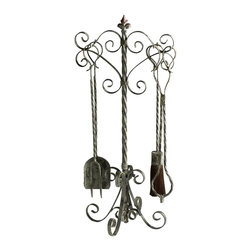 Cyan Design - Cyan Design Coastal Fireplace Tools X-39040 - From the Coastal Collection, this Cyan Design tool set features four pieces as well as the stand, making it easy to display or store. The base features heavy ribbon-style curls, which gives way to a twisted metal stem. The tools feature coordinated twisted metal detailing, with Distressed Antique White finishing throughout to complete the look.