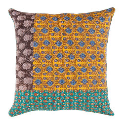 "Surya HSK110-1818P 100% Cotton 18"" x 18"" Decorative Pillow - This pillow displays great detail in every design. Colors of avocado, light celadon, lagoon, dusk blue, blue corn, red, golden ochre, bonze, mustard, black olive, and putty accent this decorative pillow. This pillow contains a poly fill and a zipper closure. Add this 18"" x 18"" pillow to your collection today. Filler: Poly Fiber. Shape: Square"