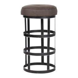 Zentique - Recycled Metal Bar Stool with Cushion, Aubergine - This bar stool was created by using recycled metal as its base and a tufted linen cushion top. Two colors are available in the cushion: Natural and Aubergine.