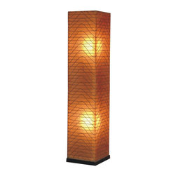 Jeffan International - Wave Square Medium Contemporary Wicker Floor Lamp w Wood Base - Add visual interest and style to any room of your home with this innovative fiberglass and woven wicker floor lamp, a stunning way to enhance any interior design. Finished in amber with a graceful wave pattern, the lamp has a wood base and will bring a global spirit to any space. Bulb not included. Requires two 40/60 watt bulb. Unique lighting for great ambiance. Recognized by HGTV for its innovative design. Finished with black wooden base. Used in traditional or transitional spaces. 7 ft. electrical cord with on/off switch. Made from fiberglass and wicker. Made in Indonesia. No assembly required. 13 in. L x 13 in. W x 57 in. H (35 lbs.)