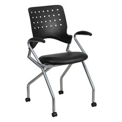 Flash Furniture - Flash Furniture Galaxy Mobile Nesting Chair with Arms and Black Leather Seat - Nesting chairs are ideal for learning, training and collaborative environments. The simple yet stylish design is comfortable enough for conference rooms. The flexible, perforated back provides relaxation and enhanced circulation. The curved back conforms to the user's back for exceptional support. The contoured seat dissipates pressure points for greater comfort. Seats easily flip-up, then roll chairs to nest together.