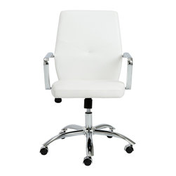 Eurostyle - Napoleon Low Back Office Chair - White/Chrome - Leatherette over foam seat and back