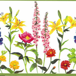 York Wallcoverings - Colourful Gardened Flowers Wallpaper Border - Wallpaper borders bring color, character and detail to a room with exciting new look for your walls - easier and quicker then ever.