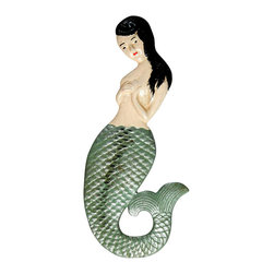 La Sirena Bottle Opener - Beautifully hand painted cast iron metal takes on the shape of a lovely, modest mermaid ideal for use in your backyard bbq area or when given as a thoughtful gift, La Sirena is a delightful and useful piece for those who are fascinated by the creatures that dwell under the sea.