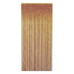 "Bamboo54 - Bamboo Natural Curtain - Bamboo door way curtain is made of 90 strands of bamboo long beads. Measures 36"" W x 80"" L , the curtain is hung up by 2 eye rings attached to the wooden bar on top. Some have cut these to use as window coverings as well."