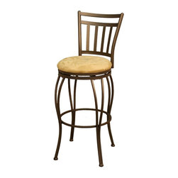 American Heritage - Folio Counter Stool/Bar Stool (30 in. Bar Sto - Choose Seat Height: 30 in. Bar StoolFinished In Topaz With Camel Microfiber. Full Swivel. Floor Glides. Assembly Required. Counter Stool Dimensions: 19 in. W x 17 in. D x 37.75 in. H. Counter Seat Height: 24 inches. Bar Stool Dimensions: 19 in. W x 17 in. D x 43.75 in. H. Bar Seat Height: 30 inches