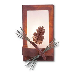 Avalanche-Ranch - Pine Cone Art: Wisley Single Sconce - Rustic Wall Lights - Indoor + Outdoor with Pine Cone artwork - Takes (1) 60W C-Type bulb(s)