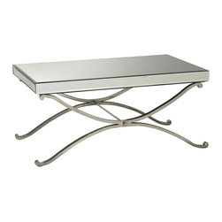 Kathy Kuo Home - Contemporary Vogue Mirror Coffee Table - This chic mirrored table is a hopeless romantic-so easy to fall for! With gentle curves, spare lines and a generous helping of mirrored glass and chrome this modern coffee table adds instant Hollywood Regency style to any room.