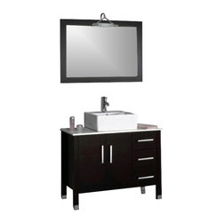 Cambridge - Cambridge 40-inch Bathroom Vanity Set with a Brushed Nickel Faucet - A real find with its Solid wood cabinet with popular Espresso finish. Contrast the deep richness of Espresso with the pristine white porcelain counter top and square vessel sink and you have a contemporary vanity for your bathroom. If that isn't enough, this vanity set comes with a 28 x 39 mirror that is trimmed in the same wood finish as the cabinet. The faucet included is Brushed Nickel in finish. All other items are polished chrome.