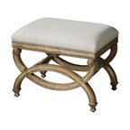 Carolyn Kinder - Carolyn Kinder Karline Small Bench X-25032 - Hand Carved, White Mahogany Frame With Antiqued Almond Finish. Covering Is Natural Linen And Cotton With Stain Resistant Fabric Protector Accented By Champagne Silver Nails.