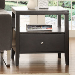 None - Keighley Espresso 1-drawer Modern Accent Table Nightstand - Reduce clutter in your living room with this brown wooden end table. The sturdy Asian wood construction ensures that you'll enjoy this piece for years to come. The single drawer is perfect for household accessories, and the shelf can hold books.