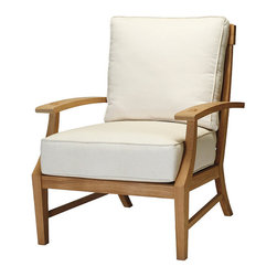 Frontgate - Croquet Outdoor Teak Outdoor Lounge Chair with Cushions, Patio Furniture - Marine-grade Burmese teak is ideal for any environment, including beach and oceanfront destinations. Mortise-tenon construction provides long-lasting durability. As with all teak products, a natural patina will occur over time. Dream Cushions&#8482 offer supreme comfort using high-density foam that is crowned with a pillow-top of blown fiber channels. Cushions are covered in exclusive Sunbrella&reg fabrics, the finest solution-dyed, all-weather material available. The Croquet Teak Lounge Chair from Summer Classics&reg embodies the casual elegance of a true aristocrat. Solid, strong, and sophisticated, the lounge chair is hand-built with marine-grade Burmese teak for all-weather durability. Generously proportioned seating accommodates luxurious Dream cushions for ultimate comfort. Part of the Croquet Teak Collection by Summer Classics&reg .  . . Dream Cushions offer supreme comfort using high-density foam that is crowned with a pillow-top of blown fiber channels. . Note: Due to the custom-made nature of the cushions, any fabric changes must be made within 48 hours of ordering.