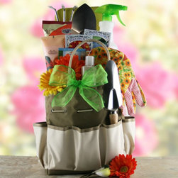 Design It Yourself Gift Baskets - Backyard Gardener Gift Basket Multicolor - 888117 - Shop for Gift Basket from Hayneedle.com! The Backyard Gardener Gift Basket is great both for experienced gardeners or those who think they'd like to get started in the yard. With the included tools accessories and seed packets they'll plant beautiful flowers that'll just keep reminding them of you long after your gift arrives. They'll also get a selection of indulgent lotions and scrubs to get squeaky clean after a day in the garden. The whole thing is packaged in a reusable canvas gardening tote. Gift Basket Includes Metal gardening tools Cotton gardening gloves Flower seed packets Spray bottle Kneeling pad Hand scrub Lotion Tote bag