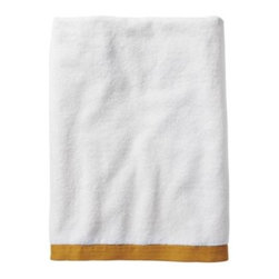 Serena & Lily - Mustard Border Frame Bath Towel - Woven in Portugal from supremely soft cotton, these towels are lofty, absorbent, quick to dry, and won't fade, fray or wear out. We love how the substantial stripe pops against the pure white cotton terry. (The washcloth was kept simple a perfect square of all white.)