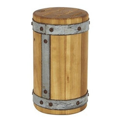 EUROPE 2 YOU - Round Galvi Knife Block - Our reclaimed wood knife block keeps your essential knives within reach. Made of repurposed 19th century European timber burnished to a smooth finish, this handcrafted holder is lined in galvanized steel and accented with weathered nail heads. Resembling a treasured Tuscan find, it is the star of any countertop.Dimensions: 5 W x 9 H x 5 D