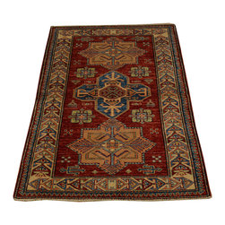 Super Kazak 100% Wool Tribal Design Hand Knotted 3'x4' Oriental Rug SH16689 - This collections consists of well known classical southwestern designs like Kazaks, Serapis, Herizs, Mamluks, Kilims, and Bokaras. These tribal motifs are very popular down in the South and especially out west.