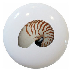 Carolina Hardware and Decor, LLC - Nautilus Seashell Ceramic Cabinet Drawer Knob - New 1 1/2 inch ceramic cabinet, drawer, or furniture knob with mounting hardware included. Also works great in a bathroom or on bi-fold closet doors (may require longer screws). Item can be wiped clean with a soft damp cloth. Great addition and nice finishing touch to any room!