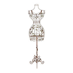 Aspire - Tall Iron Dress Form Mannequin - This gorgeous dress form is perfect for adding charm to any room. It is hand-crafted with iron. Features beautiful scroll designs as well as iron leaves throughout the body form. The base also adds elegance with iron scroll designs. Metal. Color/Finish: Reddish-brown. Bust: 36 in., Waist: 17 in., Hip: 40 in.. Assembly Required. 60 in. H x 16 in. W x 10 in. D. Weight: 11 lbs.