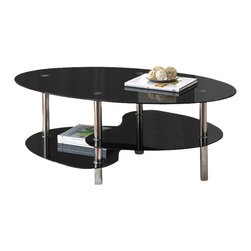 "Steve Silver Furniture - Steve Silver Tampa 3 Piece Glass Top Coffee Table Set [Set of 3] - 3 Piece Glass Top Coffee Table Set belongs to Tampa Collection by Steve Silver Put your space on the map with the Tampa 3-piece occasional set. Featuring black tempered glass tops and shelves with chrome plated metal legs, this 3-pack occasional set is stunning. The oval cocktail table features bottom and center unique shaped shelves and the three tiered round end table completes the set. Cocktail-46""x26""x18"", End Tables-23""x23""x24""  Cocktail Table (1), End Table (2)"