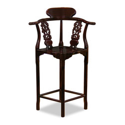 """China Furniture and Arts - Rosewood Flower & Bird Design Bar Stool - Practical and stylish, this chair is handcrafted by skillful artisans in China. It not only provides seating for your bar counter, the unique angle of corner chair makes it a deserving piece of art. Footrests are sturdily built for your convenience. Hand applied natural rosewood finish enhances the beauty of the wood grains. (Seat is 27""""H from the floor)."""