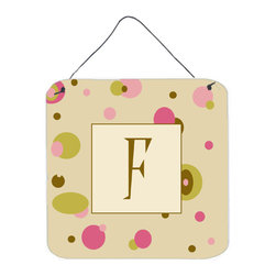 Caroline's Treasures - Letter F Initial Monogram - Tan Dots Aluminium Metal Wall Or Door Print - Great for inside or outside these Aluminum prints will add a special touch to your kitchen, bath, front door, outdoor patio or any special place.  6 inches by 6 inches and full of color.  This item will take direct sun for a while before it starts to fade.  Rust and Fade resistant.  Aluminum Print with Hanging Rope.  Rounded Corners.