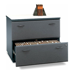 Bush Business - Slate Lateral File Storage Unit - Series A - The key to an organized office lies in its filing system.  Make it a stylish setup with a combination of these lateral storage units plus matching verticals.  Slate finish sets the tone in an executive office suite, administration space, or open workstation area.  The Series A Slate Two Drawer Lateral File features cleverly designed interlocking drawers which lock securely using a single gang lock.  Two drawers hold letter, legal or A4 size files. * Drawers hold letter-, legal- or A4-size files. Interlocking drawers reduce likelihood of tipping. Gang lock with interchangeable core affords privacy and flexibility. Full-extension, ball bearing slides allow easy file access. Matches height of Desks for side-by-side configuration. Levelers provide stability on uneven floors. Vinyl-clad drawer fronts are durable and easy to clean. 35.669 in. W x 23.346 in. D x 29.764 in. H