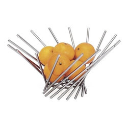 Vortex Fruit Bowl - Vortex Fruit Bowl features chrome plated wire bowl with contemporary design.
