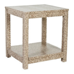 Society Social - The Draper End Table, Faux Python/Stone - The shape is utilitarian, the finish anything but. Together, this eclectic end table makes for a singular style that on first glance blends in, then immediately stands apart. Try using a pair as nightstands in an otherwise traditional bedroom.