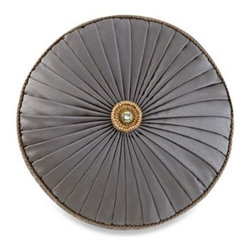 Waterford - Waterford Walton Round Toss Pillow - This Walton toss pillow features luxurious pleating details and is finished with a braded cord trim and button accent with a sewn closure.
