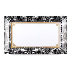 Q Squared NYC - Essex Large Rectangle Platter - Give your serveware a glam update with this gilded black and white rectangular platter. This geometrically patterned platter is an art deco-inspired revelation for your dining table or sideboard, and is available in either large or small sizes.