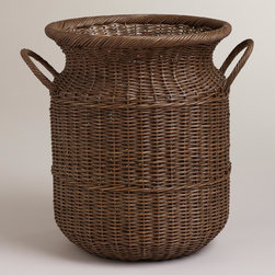 World Market - Abbie Harvest Basket - Inspired by vintage European baskets, our Abbie Harvest Basket doubles as excellent storage as well as sophisticated décor. With a unique, old milk can shape, this basket provides an excellent storage solution while making an elegant style statement at an understated value.