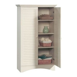 Sauder - Harbor View Storage Cabinet in Antique White - Hidden storage behind louver detailed doors. 4 Adjustable shelves. Full upper shelf. Detailing includes solid wood knobs. Made of engineered wood. Assembly required. 35 in. W x 17 in. D x 61 in. H
