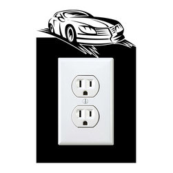 StickONmania - Outlet Sports Car #1 Sticker - a vinyl decal sticker to decorate a wall outlet.  Decorate your home with original vinyl decals made to order in our shop located in the USA. We only use the best equipment and materials to guarantee the everlasting quality of each vinyl sticker. Our original wall art design stickers are easy to apply on most flat surfaces, including slightly textured walls, windows, mirrors, or any smooth surface. Some wall decals may come in multiple pieces due to the size of the design, different sizes of most of our vinyl stickers are available, please message us for a quote. Interior wall decor stickers come with a MATTE finish that is easier to remove from painted surfaces but Exterior stickers for cars,  bathrooms and refrigerators come with a stickier GLOSSY finish that can also be used for exterior purposes. We DO NOT recommend using glossy finish stickers on walls. All of our Vinyl wall decals are removable but not re-positionable, simply peel and stick, no glue or chemicals needed. Our decals always come with instructions and if you order from Houzz we will always add a small thank you gift.