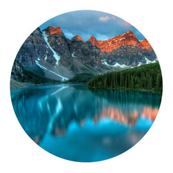 WallsNeedLove - Lakeside Circle Wall Decal - Blue lakes, white snow, red mountains and green trees...sometimes the beauty of this Earth is truly astounding. Apply this adhesive wall art to your favorite space and revel in the greatness that is the world around us.