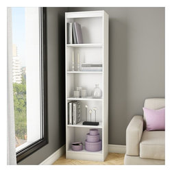 South Shore - South Shore Axess 5-Shelf Narrow Bookcase in Pure White - South Shore - Bookcases - 7250758 - Ideal for your binders books or decorative items this versatile 5-shelf bookcase can meet all your storage needs even in tight spaces. Both functional and attractive with its sleek contemporary styling this bookcase is sure to enhance the look of any room in your home.