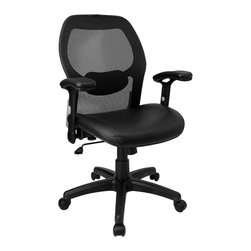 Flash Furniture - Mesh Chair w Mesh Back and Italian Leather Se - Thick padded contoured leather seat and mesh back with lumbar support. Pneumatic seat height adjustment. Height adjustable lower lumbar support. Tension adjustable lumbar support. Locking tilt control mechanism. Tension control. Headrest. Height adjustable arms with padded armrests. Heavy duty nylon base with dual wheel casters. Seat: 20.5 in. W x 19.25 in. D. Back: 20 in. W x 25 in. H. Seat Height: 18 in. - 22 in. H. Overall Height: 38 in. - 41.9 in. H (14 lbs.)