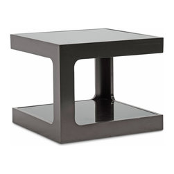 """Baxton Studio - Baxton Studio Clara Black Modern End Table with 2 Glass Shelves - A unique contemporary side table option, this designer piece offers dual tinted tempered glass surfaces for sophisticated storage and display. The black engineered wood frame descends from the top surface to the bottom in two opposite corners for each level, leaving each space with a wider gap for easy access.  The design works well when two or four units are purchased and used together as a large, contemporary coffee table. The Clara End Table is fully assembled: just position the glass in place. Maintain the table's beauty by simply wiping the glass surfaces with a glass cleaning solvent and a soft cloth; the frame should be dusted with a dry cloth. Product dimension:18.9""""W x 18.9""""D x 15.375""""H"""