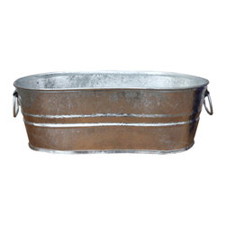 USA - Galvanized Planter Trough, 4 Gallon - The 4 gallon galvanized trough holds about 21 standard beverages (12.7 ounces).  Hot dipped zinc coating that prevents corrosion when kept outside and around any holes created for drainage. Made in the USA. This item ships with a manufacturer label. Rustic Hot Dipped Galvanized Finish.