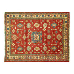 Manhattan Rugs - New Hand Knotted Veg Dyed Kazak 10'x13' Red/Ivory Wool Rug Mesa Collection H3661 - Kazak (Kazakh, Kasak, Gazakh, Qazax). The most used spelling today is Qazax but rug people use Kazak so I generally do as well.The areas known as Kazakstan, Chechenya and Shirvan respectively are situated north of Iran and Afghanistan and to the east of the Caspian sea and are all new Soviet republics. These rugs are woven by settled Armenians as well as nomadic Kurds, Georgians, Azerbaijanis and Lurs.  Many of the people of Turkoman origin fled to Pakistan when the Russians invaded Afghanistan and most of the rugs are woven close to Peshawar on the Afghan-Pakistan border.  There are many design influences and consequently a large variety of motifs of various medallions, diamonds, latch-hooked zig-zags and other geometric shapes. However, it is the wonderful colors used with rich reds, blues, yellows and greens which make them stand out from other rugs. The ability of the Caucasian weaver to use dramatic colors and patterns is unequalled in the rug weaving world. Very hard-wearing rugs as well as being very collectable.