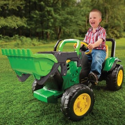 Peg Perego John Deere Pedal Front Loader - IGCD0553 - Turn any yard into your child's imaginary farm or construction site with the Peg Perego John Deere Pedal Front Loader a mini John Deere tractor with a front loader that allows you to scoop carry and dump loads from the driver's seat. The tractor is powered by a fully enclosed chain and sprockets that have a 1.2:1 drive ratio to make driving easy comfortable and safe. Easy to assemble the tractor comes with an adjustable seat large tractor wheels and a roll bar. About Peg PeregoAfter the birth of his infant son in 1949 Giuseppe Perego was unhappy with the minimal selection of juvenile products and decided to design his own baby carriage. His wife added beautiful functional fabrics and the overall aesthetics caught the attention of other parents in the Peregos' small Italian neighborhood. They were inundated with requests by neighbors for carriages of their own and Peg Perego was born. Before long the company introduced high chairs strollers and other juvenile products. With each new product the family commitment to quality continued. Always thinking forward Peg Perego has never rested on past products or designs; it continues to stay current with parents' changing needs and new research that highlights the health and safety of infants and juveniles.
