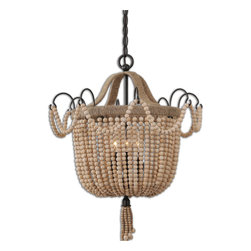 Uttermost - Civenna Pendant - This whimsical pendant will light up your life  — both day and night. It will make you smile just by hanging in your space. The clever styling of wooden beads and aged, black wrought iron make a statement without turning it on.