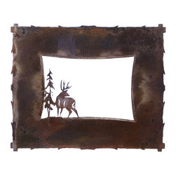 Ironwood - Deer and Pine Tree Rustic Iron Picture Frame, 5x7 Rusted Metal Frame - This  beautiful  iron  picture  frame  is  perfect  for  your  lodge  or  cabin,  or  as  a  gift  for  the  individual  who  loves  the  great  outdoors.  Featuring  the  silhouette  of  a  buck  next  to  a  stately  lodgepole  pine,  this  frame  will  showcase  your  favorite  natural  scenery  in  style.  Your  5x7  rustic  photo  frame  makes  a  handsome  addition  to  your  fireplace  mantle,  or  you  can  include  a  photo  of  your  last  hunting  trip.  Each  of  these  metal  picture  frames  is  handcrafted  from  iron  and  hand-finished.