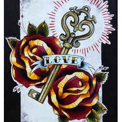 Love (Original) by Meg Walker - This piece was inspired by my love of tattoos and the neo-traditional style. It was created on Arches cold pressed watercolor paper with India ink and gouache.
