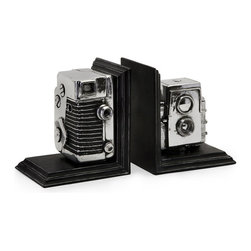 #N/A - Vintage Camera Bookends - Vintage Camera Bookends. Replicated vintage camera bookend storage boxes.. Width: 4.75 in. Depth: 5.5 in. Height: 6.5 in.