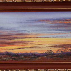 Summer Sunrise (Original) by Lindy Cook Severns - Far West Texas skies burst most mornings wide open with colors so vivid, it's hard to find paints strong enough to portray them. Volcanic rock mountains glow with their own inner reds. This view of the desert borderland is from a favorite hike, up about 7000 feet. The dawn air is so crisp and clear, it seems it will snap if you break it with sound.