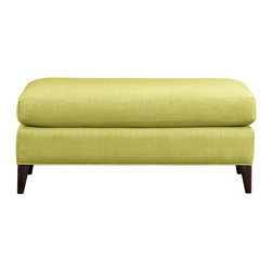 Klyne Ottoman And A Half - This oversized ottoman offers a generous space to host books, trays for drinks or just a bunch of feet for ultimate comfort in the living room. I love the bright green, spring color.