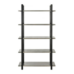 Safavieh - Scott Etagere - Ash Grey - Industrial and contemporary, the Scott etagere boasts elm shelves that seem to float on wrap-around frames of dark metal. Ideal for any room in the home and perfect for the office, this sophisticated piece makes a statement on its own and a dramatic architectural look in pairs. Use the Scott etagere to store favorite books and curios in style.