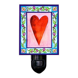 Heart Night Light - Our Heart Night Light has a warm, comforting glow. It's made of a print of original painting which is sandwiched in between two layers of durable acrylic. The light is UL approved and comes with a standard four watt night light bulb. Gift box included. Made in the USA. (Be sure to look for our heart-themed wall clock, alarm clock and magnets, too!)