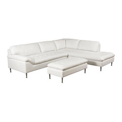 Diamond Sofa - 2-Pc Right Facing Sectional Set with Ottoman - Upholstered in bonded leather. Pillow top, tufted seat cushion. Attached seat cushion. Metal leg for urban feel. Zig zag spring suspension base. Elastic webbing back suspension. Made from hardwood, polydacron and polyester fibers. White color. No assembly required. Sofa: 77 in. L x 37 in. W x 34 in. H. Chaise: 90 in. L x 38 in. W x 34 in. H. Ottoman: 46 in. L x 23 in. W x 17 in. H. Overall: 115 in. L x 90 in. W x 34 in. H (241 lbs.)The Avalon Collection by Diamond Sofa has a chic, urban loft contemporary feel bringing an urban vibe to your living space.