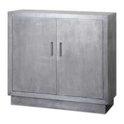 Uttermost - Martel Modern Console Cabinet - Sleek and clean, this sophisticated cabinet will add an ultramodern touch to your decor. In your foyer, this aluminum-clad console cabinet will set the stage for your entire home's style. Metal bar door pulls open to reveal a black interior, with a shelf for storage of a few of your favorite things.